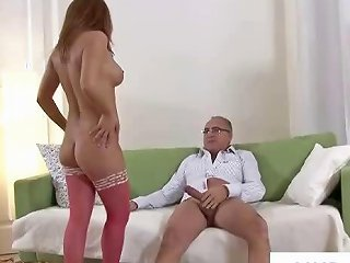 Old Uk Perv Gets A Hot Young Babe To Fuck And Suck His Cock